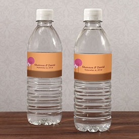 round tree wedding stationery water bottle label