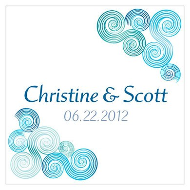 Sea Breeze Square Wedding Favor Tag