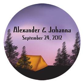 Camping Large Wedding Favor Sticker