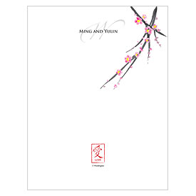 Cherry Blossom Wedding Note Card
