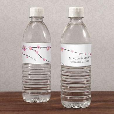 Cherry Blossom Wedding Water Bottle Label