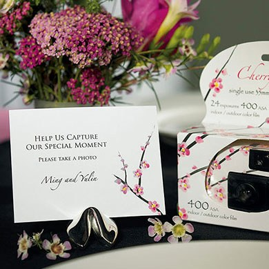 Cherry Blossom Wedding Favor Camera Table Sign