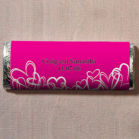Contemporary Hearts Chocolate Bar Wedding Favor