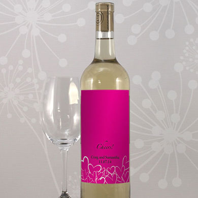 Contemporary Hearts Wedding Wine Bottle Label