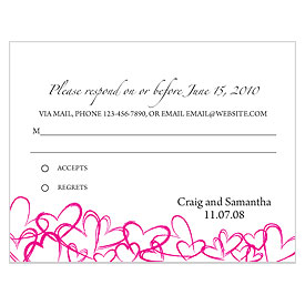 Contemporary Hearts Wedding RSVP Card