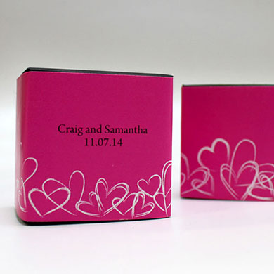 Contemporary Hearts Wedding Favor Box Wrap
