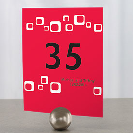 square wedding reception table number cards