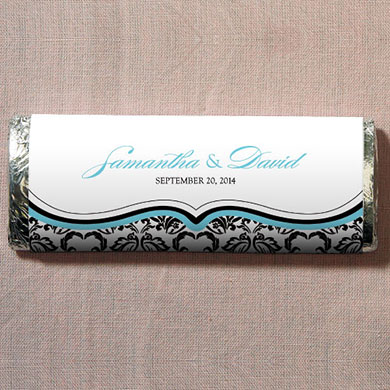 Love Bird Damask Chocolate Bar Wedding Favor