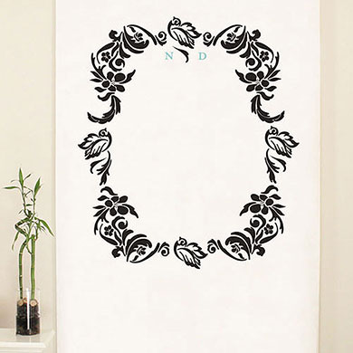 Love Bird Damask Personalized Wedding Photo Booth Backdrop
