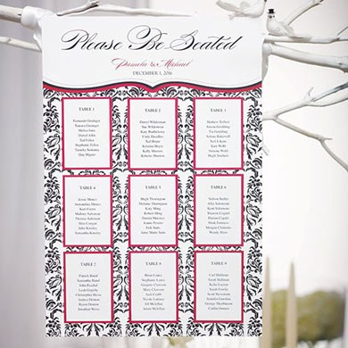 Love Bird Damask Wedding Table Seating Chart