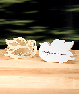 Laser Expressions Love Bird Damask Folded Wedding Place Card