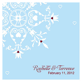 Winter Romance Square Wedding Favor Tag
