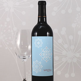 Winter Romance Wedding Wine Bottle Label
