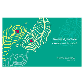 Perfect Peacock Wedding Reception Escort Table Sign Card