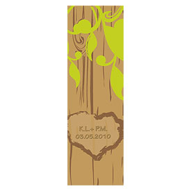 Carved Initials Large Rectangular Tree Wedding Favor Tag and Place Cards