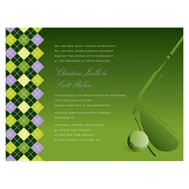 Golf Wedding Invitation Stationery