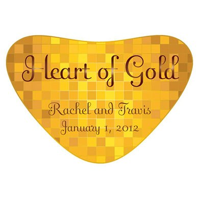 Gold Heart Container Favor Sticker