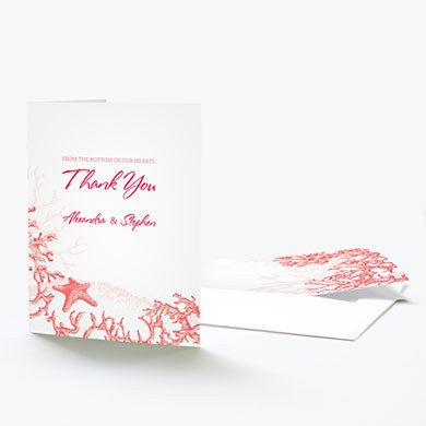 Reef Coral Wedding Thank You Card