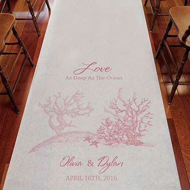 Reef Coral Personalized Wedding Aisle Runner
