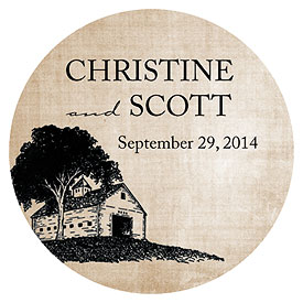 Rustic Country Wedding Large Sticker