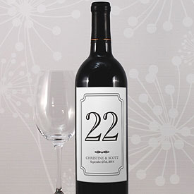 Classic Wedding Table Number Wine Label