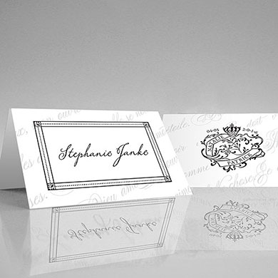 Parisian Love Letter Wedding Place Card With Fold