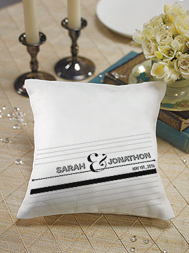 Notable Personalized Ring Pillow with Black and White Design