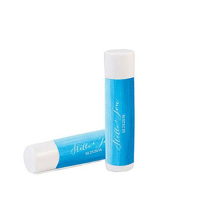 """Aqueous"" Personalized Wedding Lip Balms"