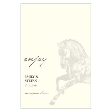 Equestrian Love Wedding Wine Label