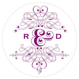Fanciful Monogram Wedding Small Sticker