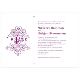 Fanciful Monogram Wedding Invitation