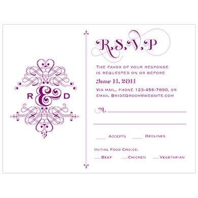 Fanciful Monogram Wedding RSVP