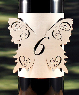 Laser Expressions Butterfly Wedding Table Number Bottle Wrap