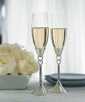 Silver Plated Open Hearts Stem Wedding Reception Flutes