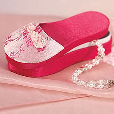 Asian Pink Brocade Wedding Favor Slipper Boxes
