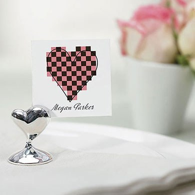 Swish Heart Wedding Place Card Holder - Silver