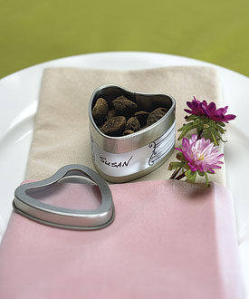 Wedding Favor Heart Tins With Clear Lids