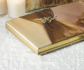 Bronze Elegance Traditional Wedding Reception Guest Book