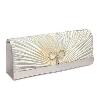 Classic Rouching and Crystal Bow Bridal Evening Bag