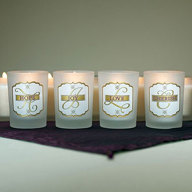 Love Set Glass Votive Candle Holders