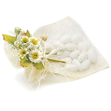 Cream Colored Natural Tied Mini Wedding Favor Bouquet Accessory