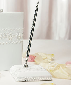 Sweet Art Satin Wrapped Wedding Reception Pen Set