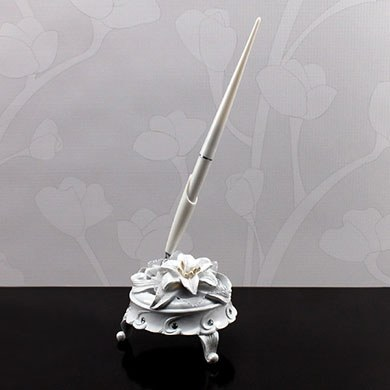 Wedding Accessory White Tiger Lily Pen Set