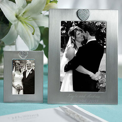 Small Photo Frame Wedding Gift with Brushed Silver and Crystals in Heart Shape