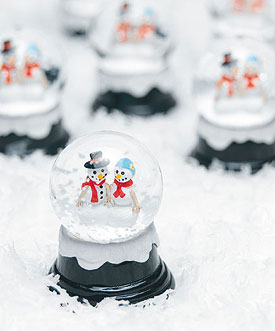 mini snow globe wedding favors