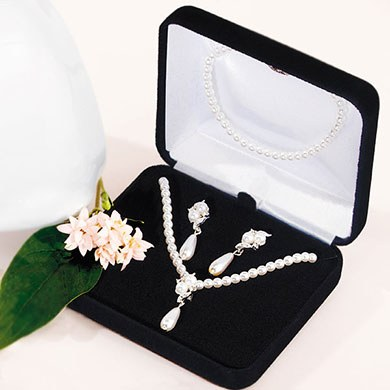 Double White Pearls with Pearl Drop 3 Piece Bridal Jewelry Accessory Set
