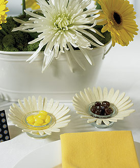Felt Daisy Wedding Favor Candle Holders