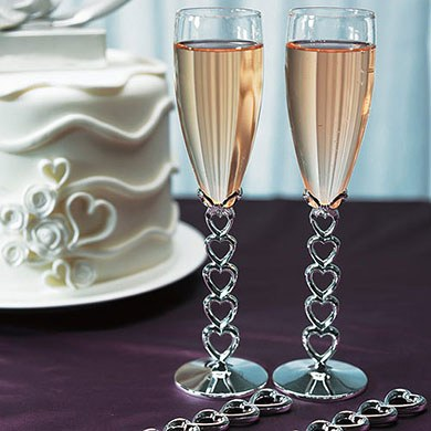 Silver Plated Stacked Hearts Glass Wedding Reception Flutes