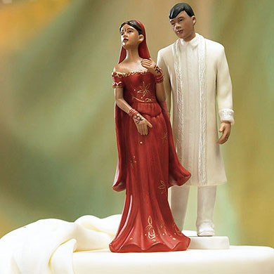 Traditional Indian Bride and Groom Mix and Match Wedding Cake Toppers
