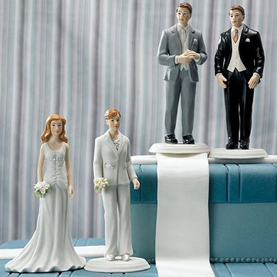 Fashionable Bride And Groom Mix and Match Wedding Cake Toppers